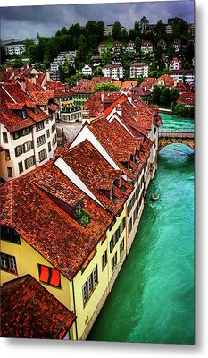 Metal Print featuring the photograph The Red Rooftops Of Bern Switzerland  by Carol Japp