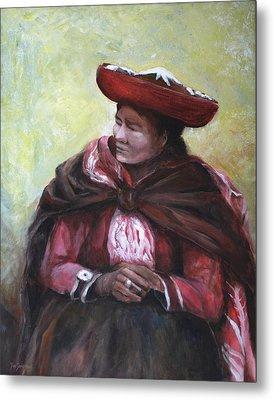 The Red Shawl  Metal Print by Jun Jamosmos