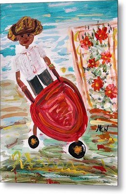 The Red Steel Barrow Metal Print by Mary Carol Williams