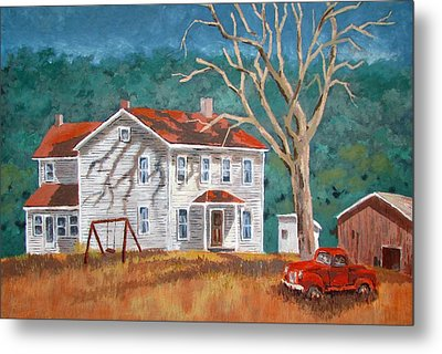 Metal Print featuring the painting The Red Swing by Tony Caviston