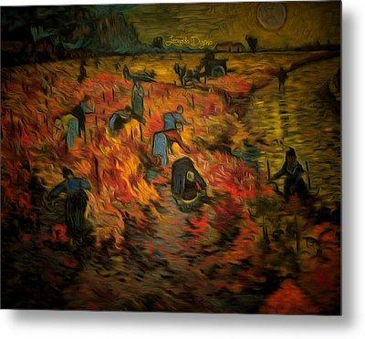 The Red Vineyard By Van Gogh Revisited - Da Metal Print by Leonardo Digenio