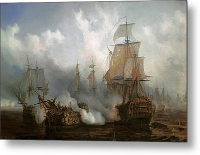 The Redoutable In The Battle Of Trafalgar, October 21, 1805 Metal Print by Auguste Etienne Francois Mayer