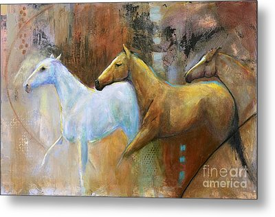 The Reflection Of The White Horse Metal Print by Frances Marino