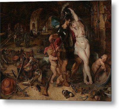 The Return From War- Mars Disarmed By Venus  Metal Print by Peter Paul Rubens