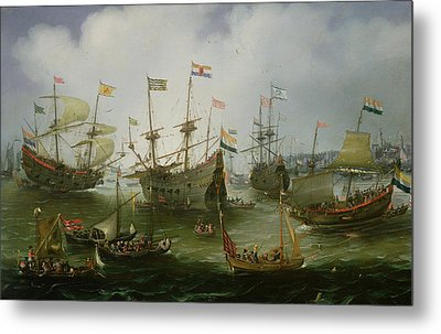 The Return To Amsterdam Of The Second Expedition To The East Indies Metal Print by Andries van Eertvelt