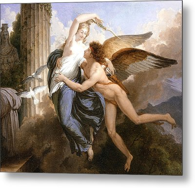 The Reunion Of Cupid And Psyche Metal Print by Jean Pierre Saint-Ours
