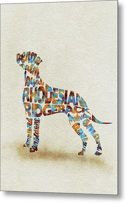 Metal Print featuring the painting The Rhodesian Ridgeback Dog Watercolor Painting / Typographic Art by Inspirowl Design