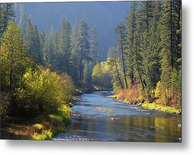 The River Runs Through Autumn Metal Print