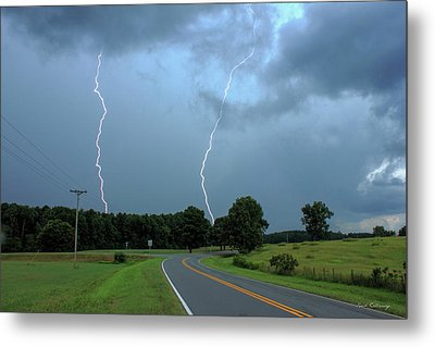 The Road Less Traveled Daytime Lightning Greensboro Ga Metal Print by Reid Callaway