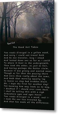 The Road Not Taken Poem By Robert Frost Metal Print