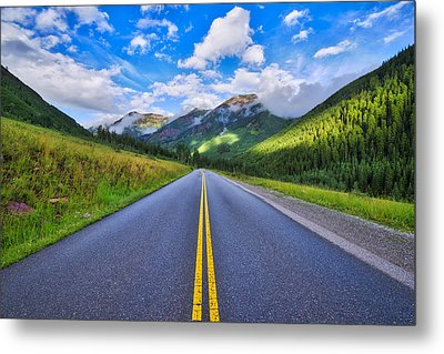 Metal Print featuring the photograph The Road To Maroon Lake by Photography By Sai