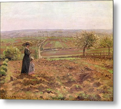 The Road To Rouen Metal Print by Camille Pissarro
