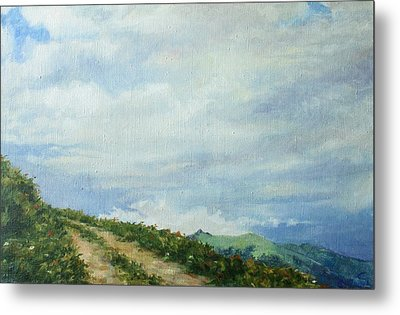 Metal Print featuring the painting The Road To The Mountain by Tigran Ghulyan