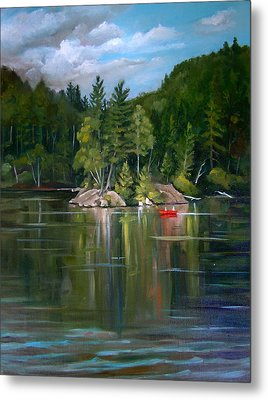 The Rock On Mirror In Woodstock New Hampshire Metal Print