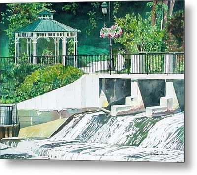 Metal Print featuring the painting The Rockford Dam by LeAnne Sowa