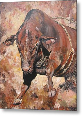 The Rodeo Bull Metal Print by Leonie Bell
