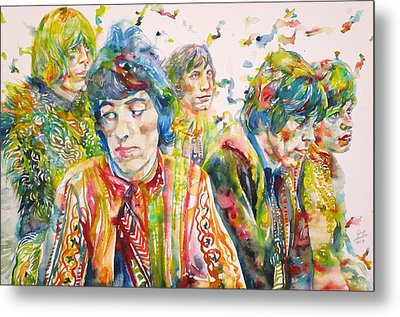 Metal Print featuring the painting The Rolling Stones - Watercolor Portrait by Fabrizio Cassetta