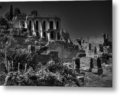 Metal Print featuring the photograph The Roman Forum 001 Bw by Lance Vaughn