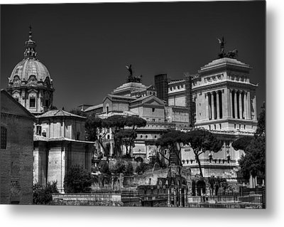 Metal Print featuring the photograph The Roman Forum 002 Bw by Lance Vaughn