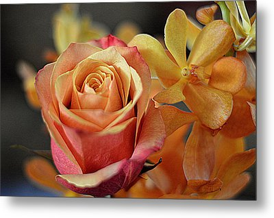Metal Print featuring the photograph The Rose And The Orchid by Diana Mary Sharpton