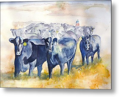 The Round Up Cattle Drive  Metal Print by Sharon Mick