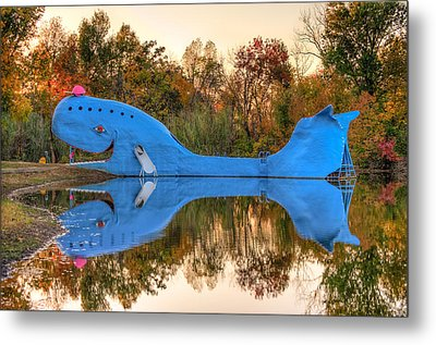 Metal Print featuring the photograph The Route 66 Blue Whale - Catoosa Oklahoma by Gregory Ballos