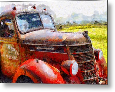 The Rusty Old Jalopy . 7d15509 Metal Print by Wingsdomain Art and Photography