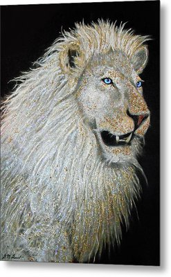 The Sacred Spirit Of The White Lion Metal Print by Michael Durst