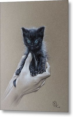 Metal Print featuring the drawing The Safest Place To Be by Elena Kolotusha