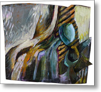 The Scarf The Glass And Caraffe Metal Print by Piotr Antonow