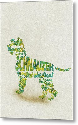 Metal Print featuring the painting The Schnauzer Dog Watercolor Painting / Typographic Art by Inspirowl Design