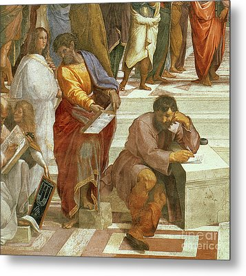 The School Of Athens, Detail Of The Figures On The Left Hand Side Metal Print