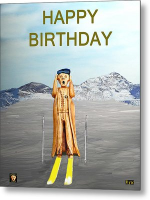 The Scream World Tour Skiing Happy Birthday Metal Print by Eric Kempson