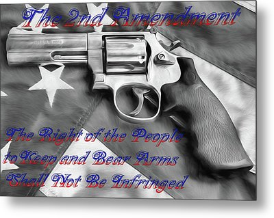 Metal Print featuring the digital art The Second Amendment Black And White by JC Findley