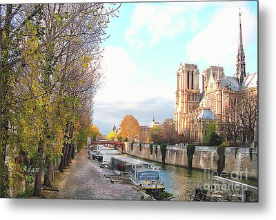 The Seine And Quay Beside Notre Dame, Autumn Metal Print