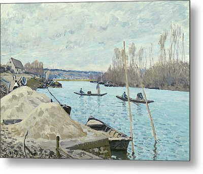 The Seine At Port Marly, Piles Of Sand Metal Print by Alfred Sisley