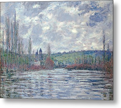 The Seine In Flood At Vetheuil Metal Print by Claude Monet