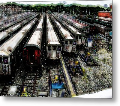 Metal Print featuring the photograph The Seven Train Yard Queens Ny by Iowan Stone-Flowers
