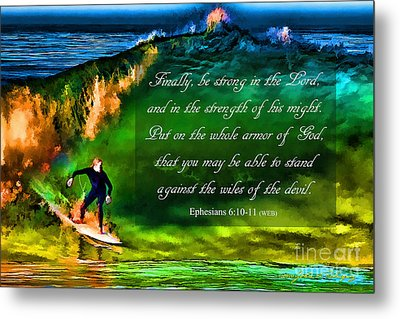Metal Print featuring the photograph The Shadow Within With Bible Verse by John A Rodriguez
