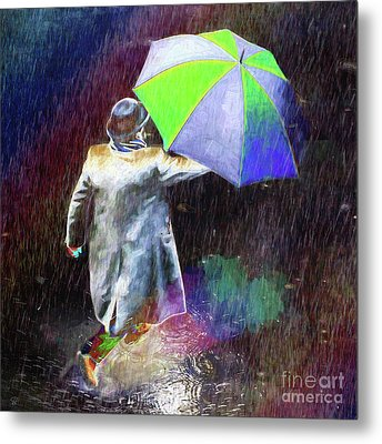 Metal Print featuring the photograph The Sheer Joy Of Puddles by LemonArt Photography