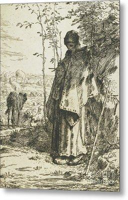 The Shepherdess Knitting, 1862 Metal Print