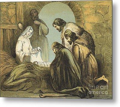 The Shepherds Finding Jesus Metal Print by English School