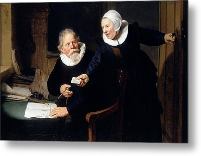 The Shipbuilder And His Wife Metal Print by Rembrandt