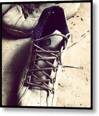 The Shoes He Left Behind Metal Print by Dana Coplin