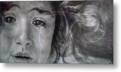 The Shy Cry Girl Metal Print