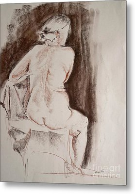 The Sitting Nude Metal Print