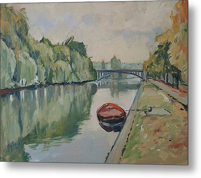 The Small Boat Along The Quai Of Halage Vise Metal Print