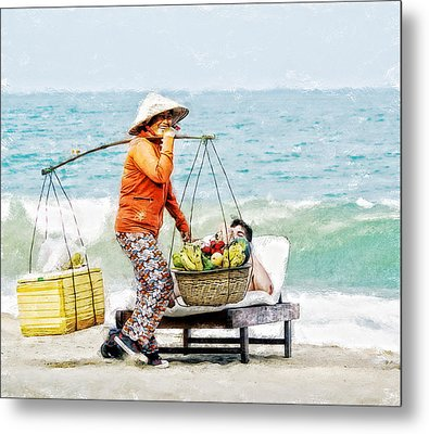 The Smiling Vendor Metal Print