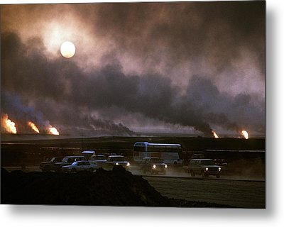 The Smoke From Oil Well Fires Forces Metal Print by Everett