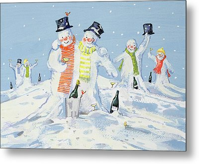 The Snowmen's Party Metal Print